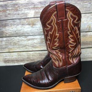 Justin vintage exotic lizard skin cowboy boots 8.5